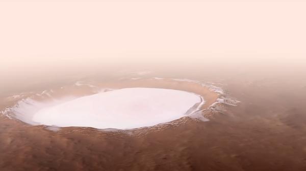 ESA показало видео пролета над марсианским кратером Королева