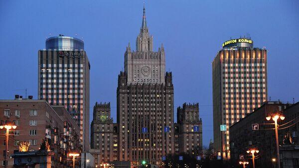 Здание Министерства иностранных дел России на Смоленской-Сенной площади в Москве.