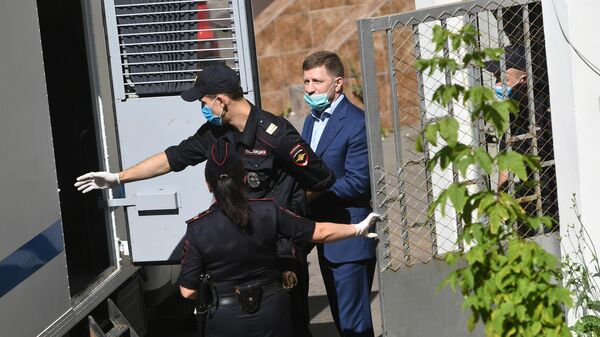 Губернатор Хабаровского края Сергей Фургал, арестованный Басманным судом Москвы до 9 сентября по обвинению в организации убийств бизнесменов в 2000-х годах
