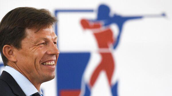 Единственный кандидат на пост президента Союза биатлонистов России (СБР) Виктор Майгуров перед началом отчетно-выборной конференции СБР.