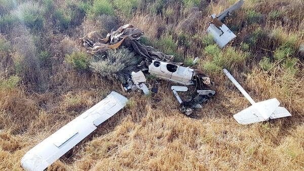 Обломки тактического БПЛА, принадлежащего Армении и уничтоженного вооруженными силами Азербайджана
