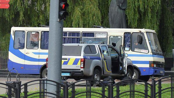 Место захвата заложников в Луцке