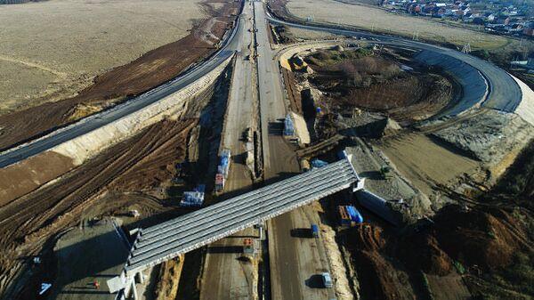 Строительство развязки четвертого пускового комплекса Центральной кольцевой автомобильной дороги