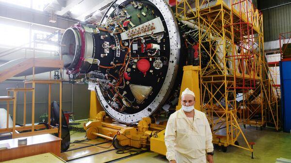 Модуль Наука российского сегмента Международной космической станции перед отправкой на космодром Байконур