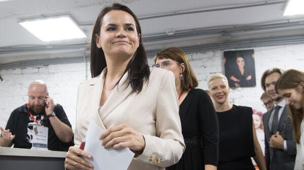 Кандидат в президенты Белоруссии Светлана Тихановская на пресс-конференции в Минске