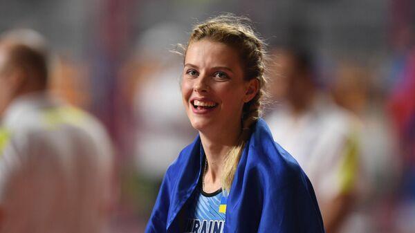 Ярослава Магучих (Украина) на чемпионате мира по легкой атлетике 2019 в Дохе.
