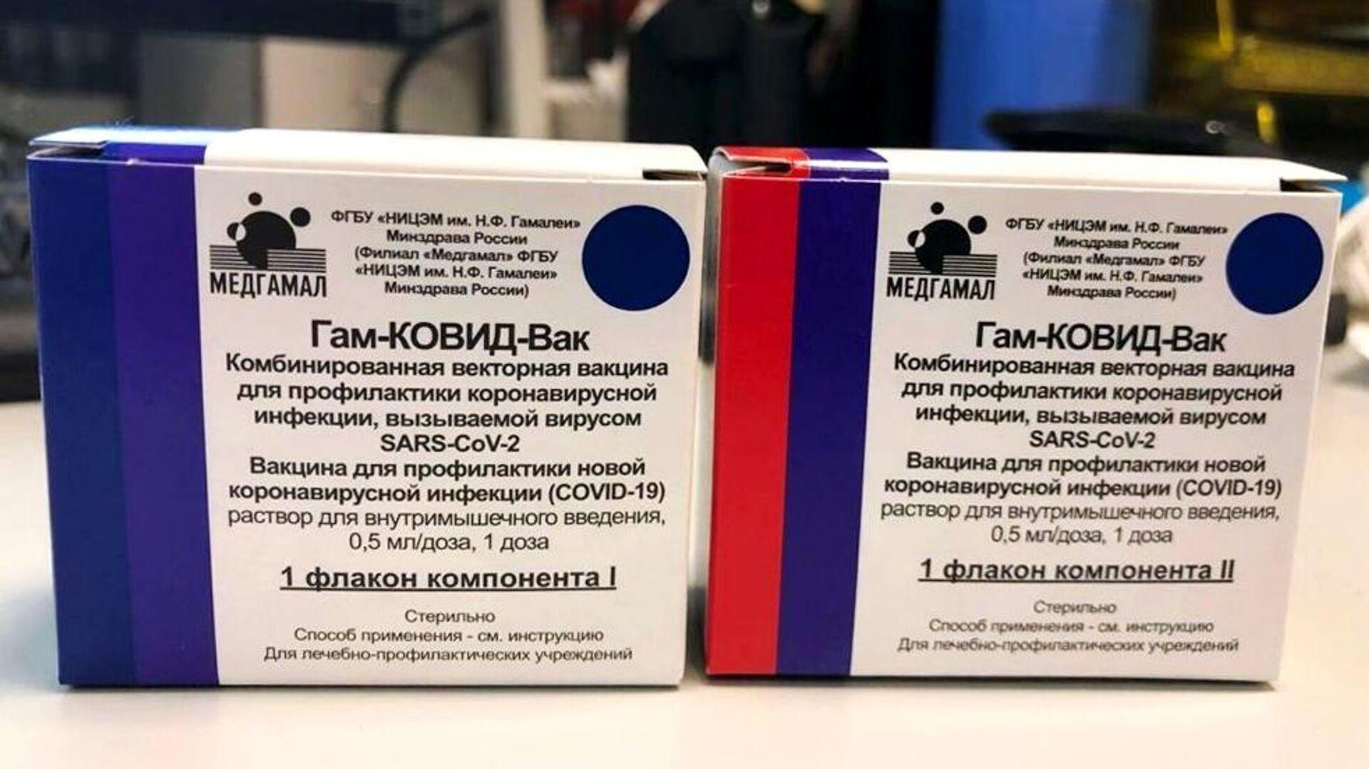 Упаковка первой в мире зарегистрированной вакцины от коронавируса COVID-19 Гам-КОВИД-Вак, разработанной Национальным центром эпидемиологии и микробиологии имени Н. Гамалеи - РИА Новости, 1920, 21.10.2020