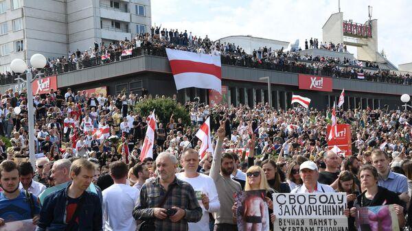 Митинг протеста возле метро Пушкинская в Минске