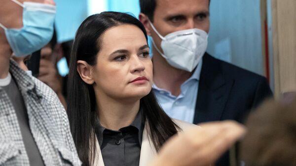 Светлана Тихановская во время пресс-конференции в Вильнюсе, Литва