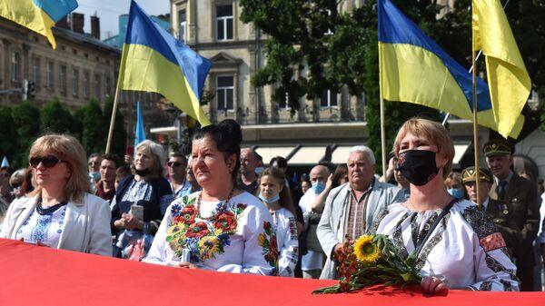 Участники Марша непокоренных во Львове в честь Дня независимости Украины. 24 августа 2020