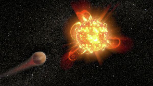 Так в представлении художника вспышки звезды - красного карлика сдувают атмосферу с вращающейся вокруг нее планеты