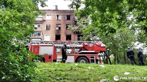 Взрыв в жилом доме в Москве. Кадр видео