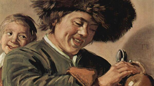 Франс Халс. Двое смеющихся юношей с пивным кувшином. 1626-1627
