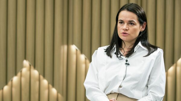 Светлана Тихановская во время интервью в Вильнюсе, Литва