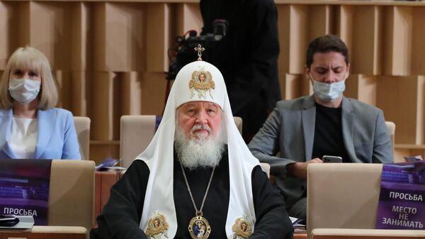 Патриарх Московский и всея Руси Кирилл во время выступления президента РФ Владимира Путина в концертном зале Зарядье