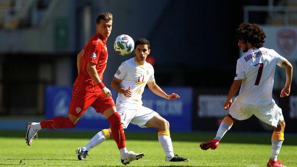 Игровой момент матча сборных Северной Македонии и Армении в Лиге наций УЕФА