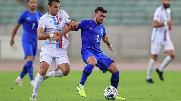 Игровой момент матча сборных Азербайджана и Люксембурга в Лиге наций УЕФА