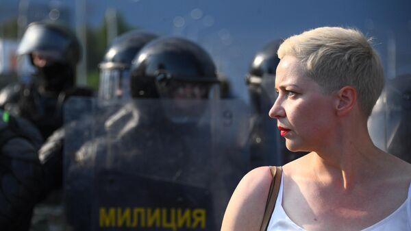 Член президиума оппозиционного координационного совета Мария Колесникова во время акции протеста оппозиции в Минске