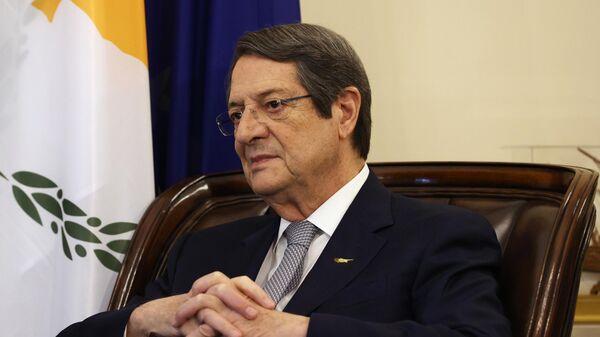 Президент Кипра Никос Анастасиадис во время встречи с министром иностранных дел РФ Сергеем Лавровым в Республике Кипр