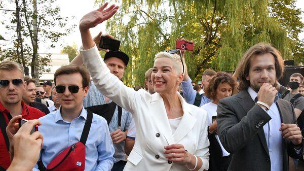 Мария Колесникова на митинге в Киевском сквере в Минске