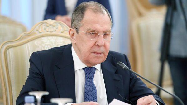 Министр иностранных дел РФ Сергей Лавров во время переговоров с министром иностранных дел КНР Ван И в Москве