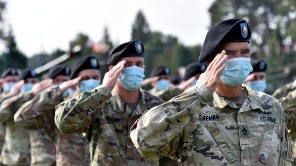 Военнослужащие США на церемонии открытия совместных военных учений Украины и стран НАТО Rapid Trident-2020 на Яворском полигоне во Львовской области