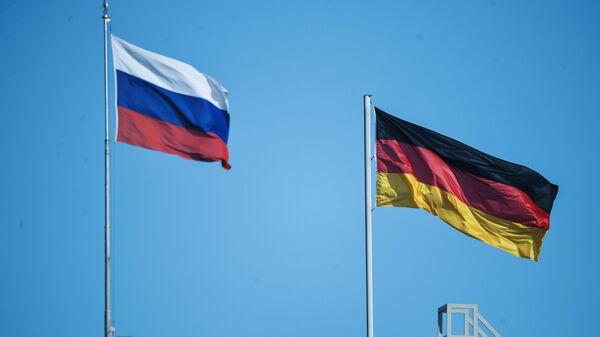 Флаг России и Германии в Берлине