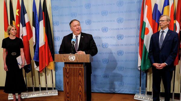 Госсекретарь США Майк Помпео на пресс-конференции после встречи с членами Совета Безопасности ООН. 20 августа 2020