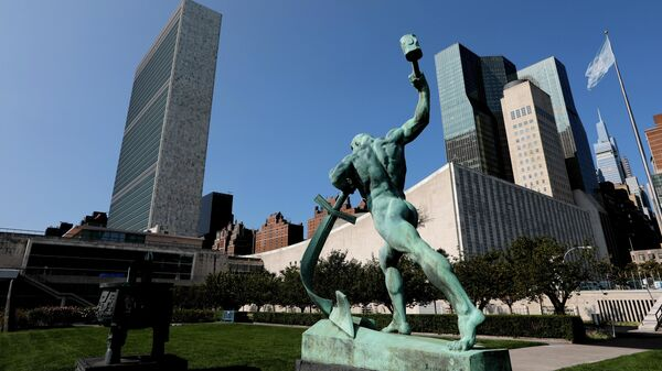 Штаб-квартира ООН в Нью-Йорке во время 75-й сессии Генеральной Ассамблеи ООН