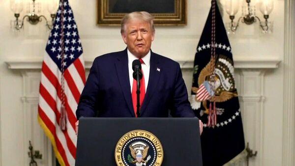 Президент США Дональд Трамп обращается к Генассамблее ООН. Кадр трансляции обращения