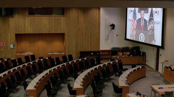 Трансляция обращения президента США Дональда Трампа к Генассамблее ООН