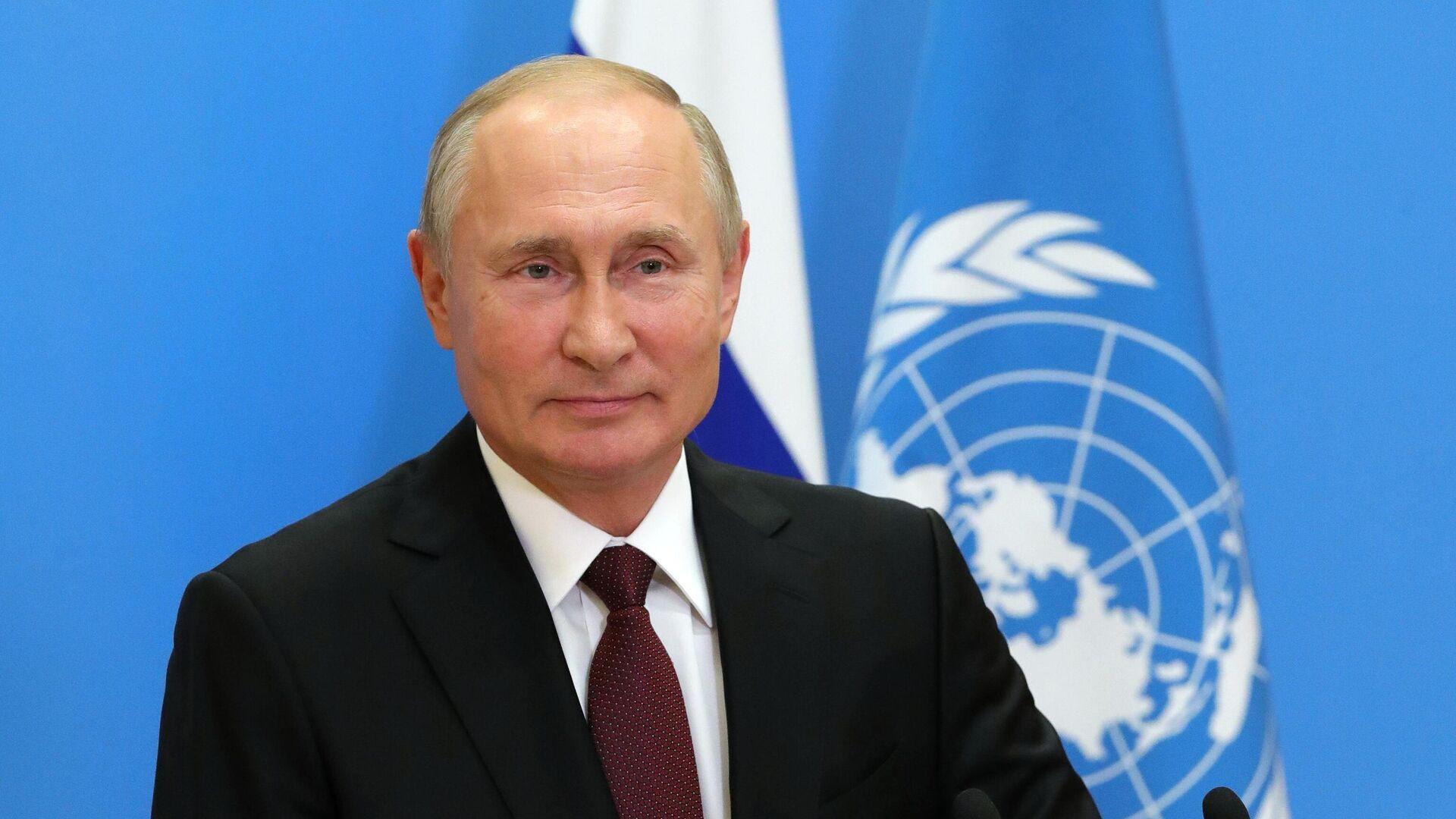 Президент РФ Владимир Путин во время выступления с видеообращением на 75-й сессии Генеральной ассамблеи Организации Объединенных Наций - РИА Новости, 1920, 23.09.2020