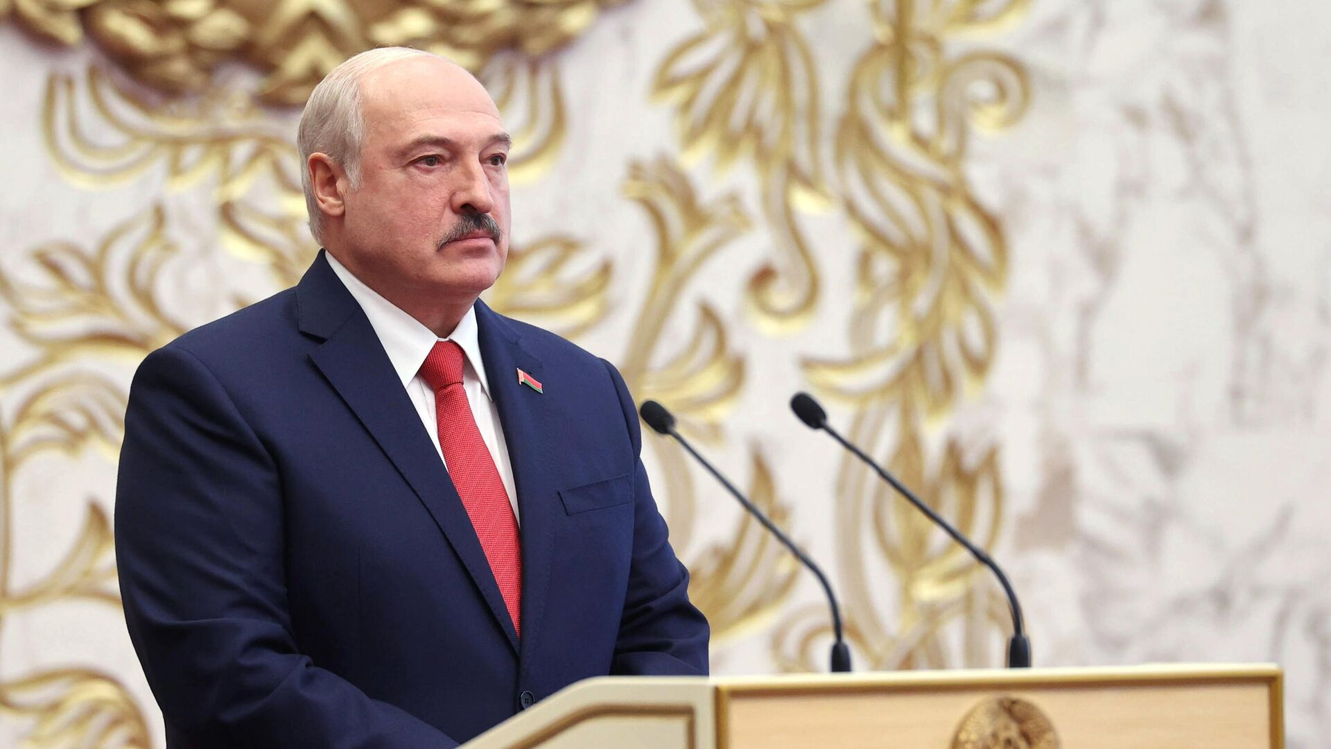 Президент Белоруссии Александр Лукашенко на церемонии инаугурации в Минске - РИА Новости, 1920, 09.10.2020