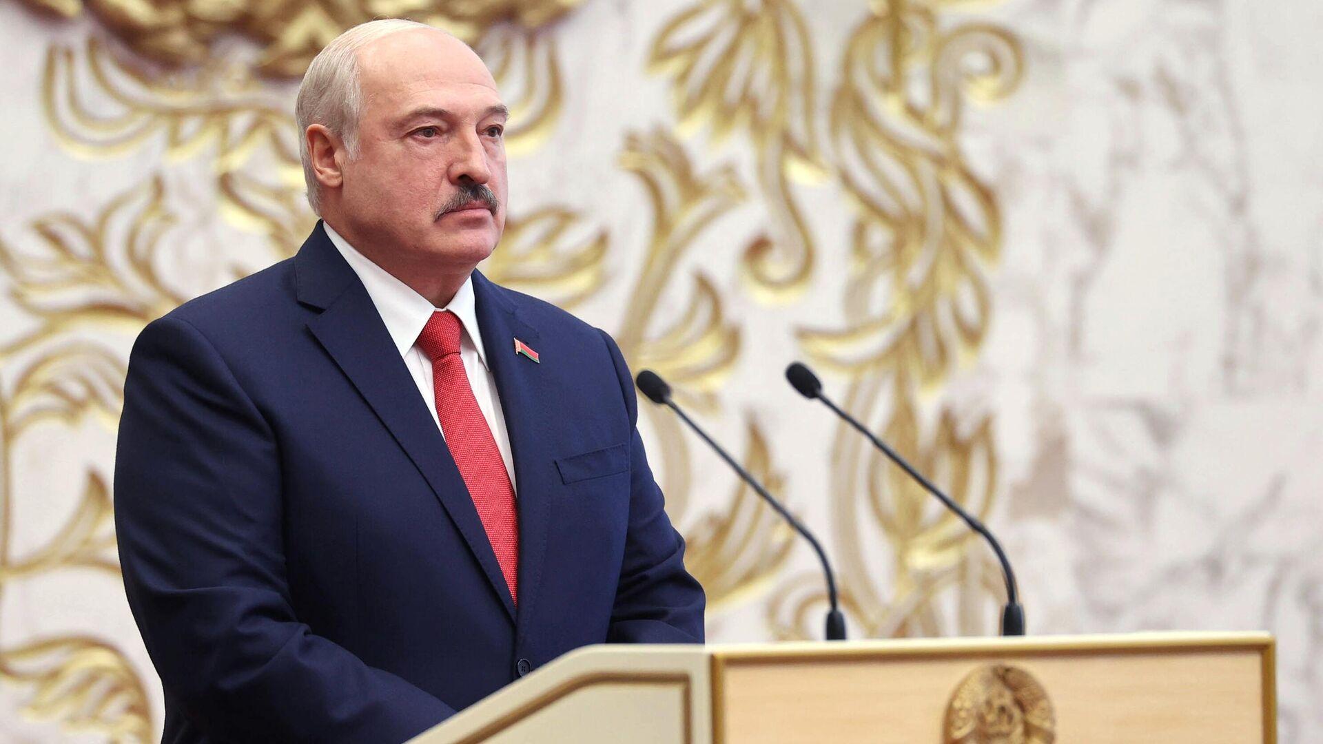 Президент Белоруссии Александр Лукашенко на церемонии инаугурации в Минске - РИА Новости, 1920, 12.10.2020