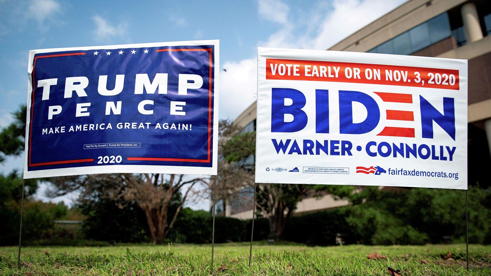 Плакаты в поддержку президента США Дональда Трампа и кандидата в президенты от Демократической партии США Джо Байдена - РИА Новости, 1920, 20.10.2020