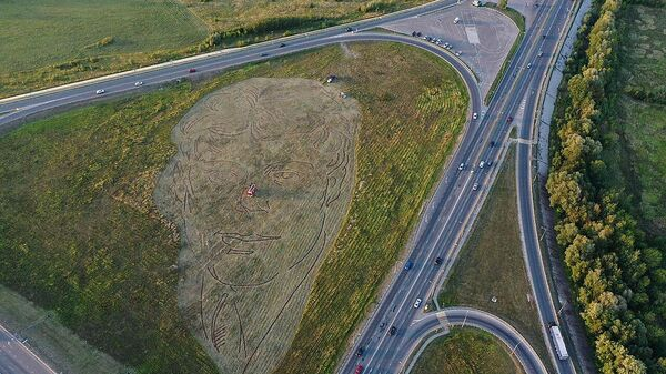 На пересечении шоссе в Рязани высадили портрет Есенина