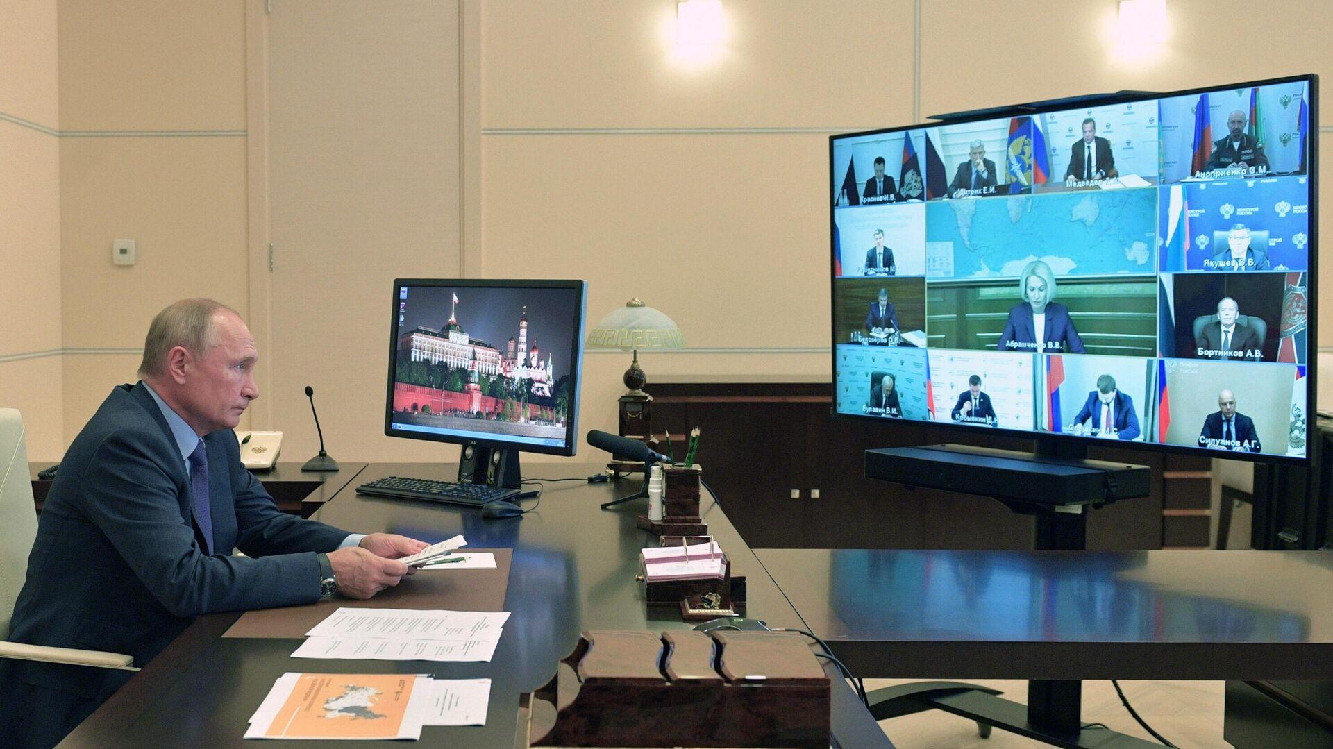 Президент РФ Владимир Путин в режиме видеоконференции провел совещание о развитии и декриминализации лесного комплекса - РИА Новости, 1920, 30.09.2020