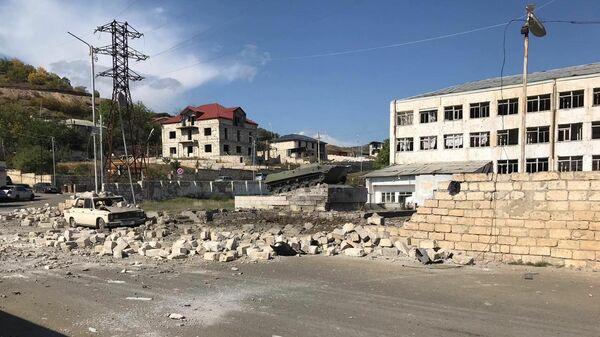 Ремонтная база в Степанакерте, пострадавшая от обстрелов