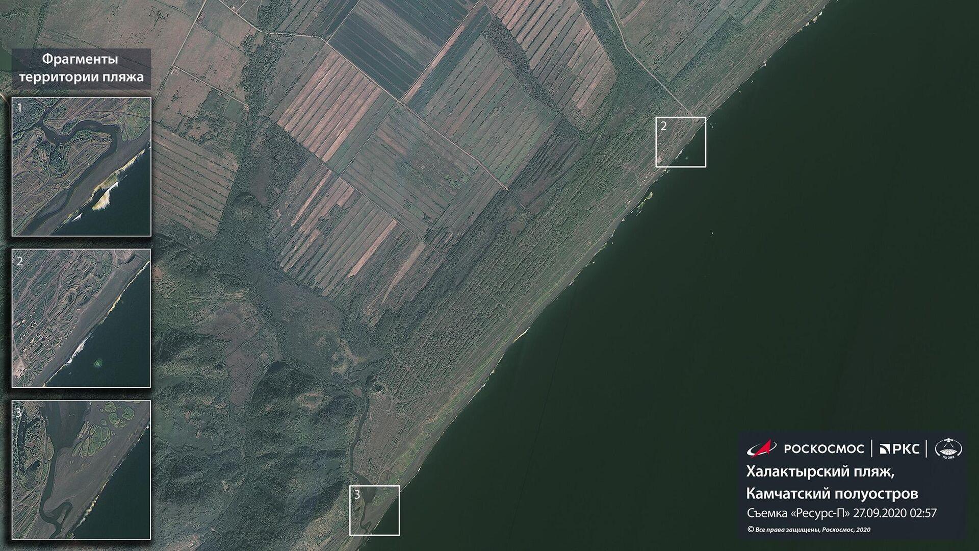 Роскосмос показал спутниковые снимки Камчатки, где произошло загрязнение побережья - РИА Новости, 1920, 05.10.2020