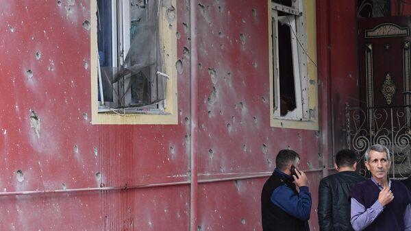 Последствия обстрела города Барда