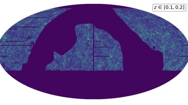 Карта плотности Вселенной для галактик на расстоянии от 1,5 до 3 миллиардов световых лет в каталоге PS1-STRM