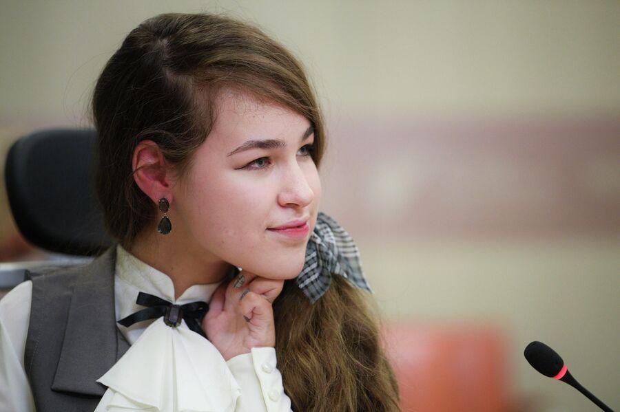 Маша Филина на пресс-конференции МИА «Россия сегодня»