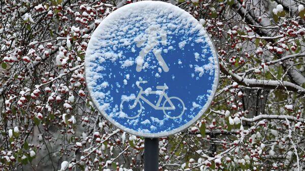 Дорожный знак после первого снегопада на набережной Енисея