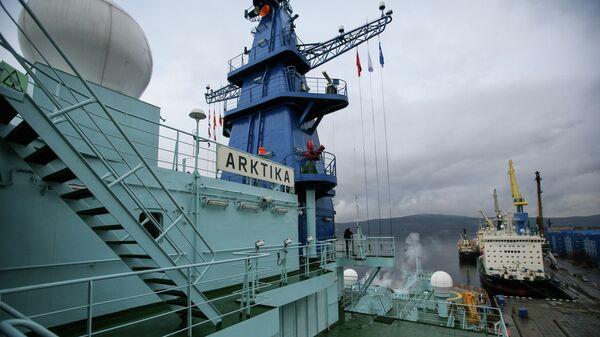 На атомном ледоколе Арктика, который прибыл в Мурманск