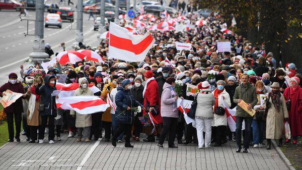 Участники акции протеста пенсионеров Марш мудрости в Минске