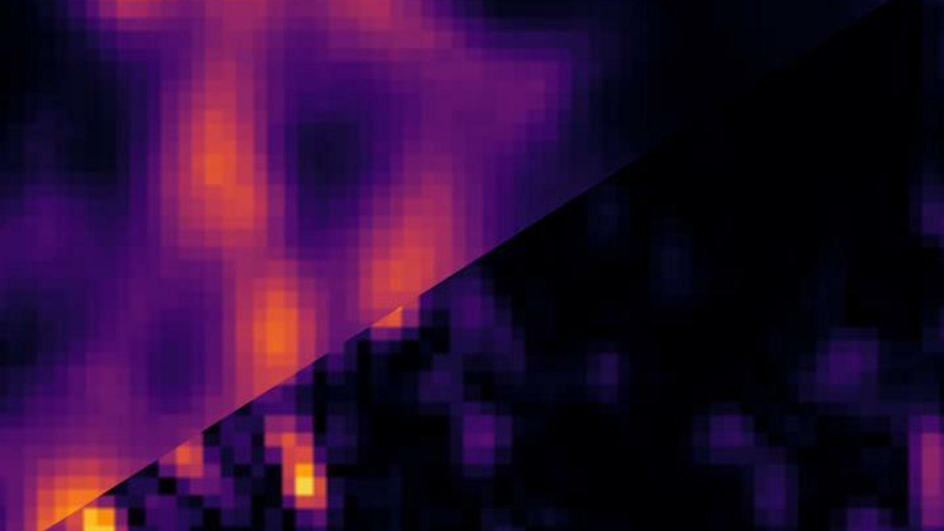 Изображение микротрубочек в образце клеток размером 3х3 микрометра, полученное методом ISM (вверху слева) и новым методом SOFISM (внизу справа) - РИА Новости, 1920, 20.10.2020