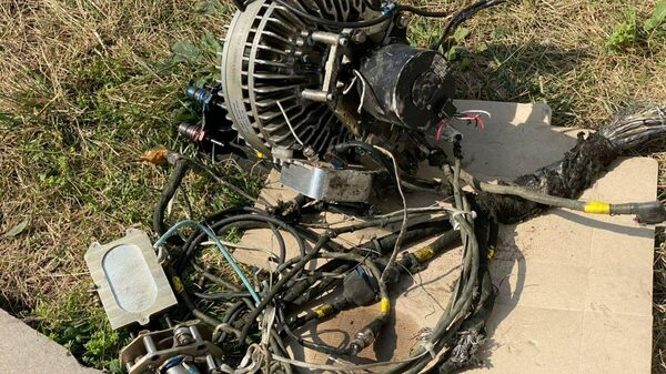 Фрагменты дрона, упавшего у аэропорта в Степанакерте