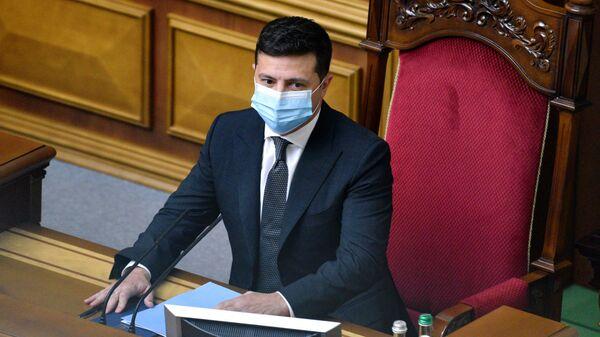 Президент Украины Владимир Зеленский на заседании в Верховной Раде