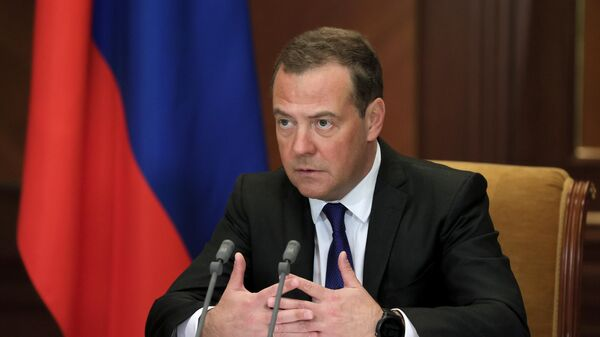 Заместитель председателя Совета безопасности РФ Дмитрий Медведев проводит в режиме видеоконференции заседание Межведомственной комиссии Совета безопасности РФ