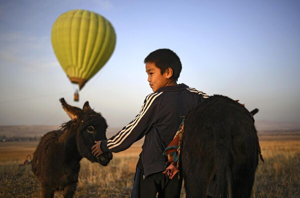 Мальчик с осликом в окрестностях города Бишкек